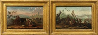 soldiers making camp and preparing for battle (pair) by philips wouwerman