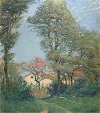 landschaft mit häusern und bäumen by jean philippe edouard robert