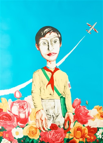man with flowers from mask series by zeng fanzhi