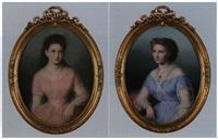 portrait eines mädchens mit percollier (+ portrait einer jungen dame mit medaillonanhänger, smaller; pair) by anthonie boubong