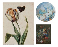 tulipe et papillon (+ 4 others; 5 works) by cornelis van spaendonck