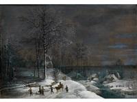 winterlandschaft mit verschneiter wassermühle und figurenstaffage by lucas van uden