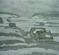 vallee de la brevine. bauernhauser in verschneiter ebene by hermann sandoz