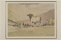 cow in a mountainous landscape by adolphe valette