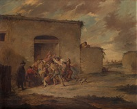 pelea a la puerta de una venta by leonardo alenza y nieto