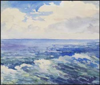 seascape / mountain scene (verso) by mildred valley thornton