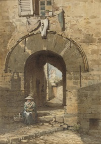 the norman arch, old town, hyères by edward henry fahey