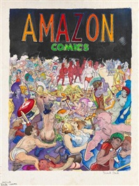 amazon comics (back cover) by frank huntington stack