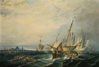 vista costera con veleros y pescadores by eugenio lucas velázquez