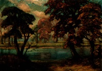 landscape along riverbank by f. otto becker