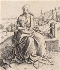 die heilige jungfrau mit dem kinde neben dem springbrunnen by matthaus zasinger
