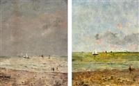 zwei strandansichten mit segelschiffen by alfred stevens