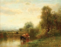 cattle watering in an expansive landscape by arthur parton
