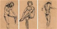 konvolut: 3 aktstudien (3 works) by franz hagenauer