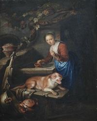 eine junge magd mit einem hund am brunnen by gerrit dou