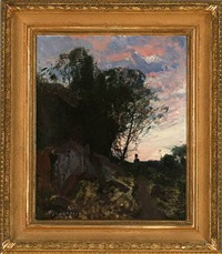 evening atmosphere at a mountain path by alfred thörne
