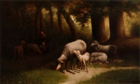 forest interior with sheep by george jackson