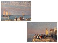 lagunenansichten mit figuren (pair) by beppe ciardi