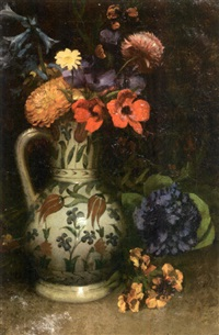 bouquet de fleurs au pichet d'iznik by louis joseph anthonissen