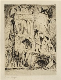 das tor (the gate) (from die schaffenden, 1st vol) by lyonel feininger