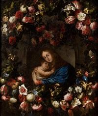 guirnalda de flores con la virgen con el niño by juan de arellano