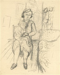 mutter und kind (+ pen & ink drawing of same, verso) by hans grundig