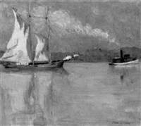 tugboat towing a sailboat down a river by anna s. fisher