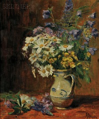 still life of summer flowers in a blue and white pitcher by gertrud staats