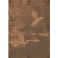 woman studying books by gertrude kasebier