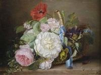 rosenbouquet in einem weidenkorb by adriana johanna haanen