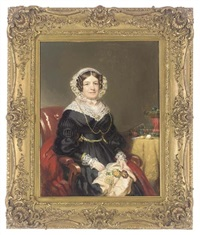 portrait of a lady in a black dress with lace trim by william jnr. patten
