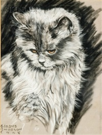 pensive cat (+ watchful kitten; 2 works) by gladys emerson cook