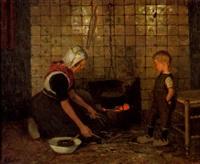 mutter und sohn am herdfeuer by reinhold bressler