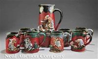 pitcher (+ mugs; 8 works) by inoue ryosai