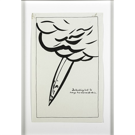 untitled intending but to raze his charmed skin by raymond pettibon