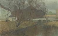 höstlandskap med byggnader vid vattendrag by vassilij filippovich levi