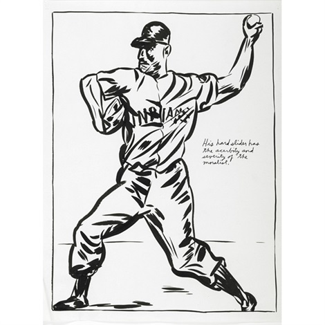 untitled (his hard slider has the acerbity and severity of the moralist.) by raymond pettibon