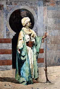 portrait of a north african man standing holding a gun in front of an archway by silvestro valeri