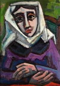 porträt einer nonne (+ frau mit gelbem fächer, verso) by herbert helmert