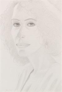 weibliches portrait mit gelocktem haar by alex katz