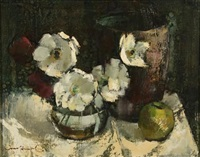 still life with flowers and a green apple by irmin henkel
