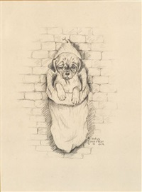 pug cartoons, including several christmas themed images (13 works) by gladys emerson cook