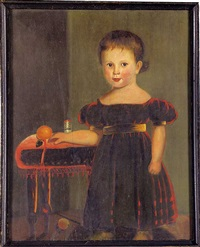 portrait of a young boy wearing a red dress with gold sash, sleeve bands and shoes by john sherburne blunt