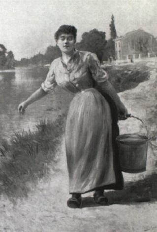 ung kvinde i blå kjole b+rende på spand, i baggrunden hus ved flod by gustaf adelsward