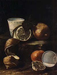 natura morta con limoni e tazzine di ceramica di delft by cristoforo munari
