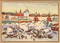 winter, novgorod, market place by stas blinov