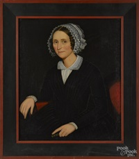 portrait of a woman with a white lace bonnet and a black dress by ammi phillips