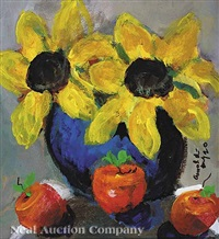 sunflowers and apples (+ 2 others; 3 works) by william arnold