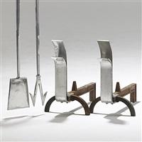 fireplace set (4 pieces) by j. robert swanson, pipsan swanson saarinen and eliel saarinen