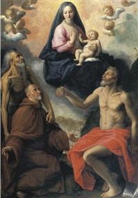 madonna con i santi onofrio, gerolamo e un devoto by fabrizio santafede